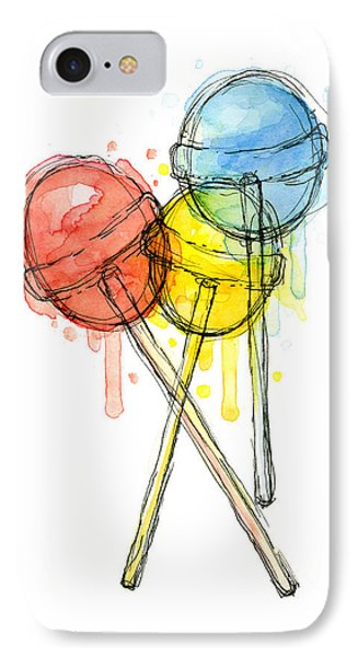 Print iPhone 8 Case - Lollipop Candy Watercolor by Olga Shvartsur