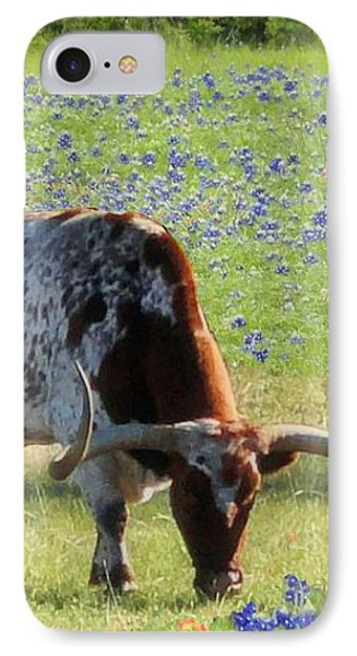Longhorns In The Bluebonnets IPhone Case