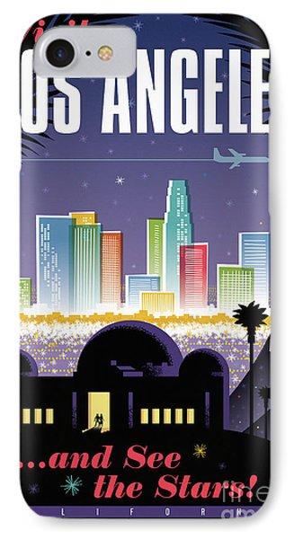 Los Angeles Retro Travel Poster IPhone Case