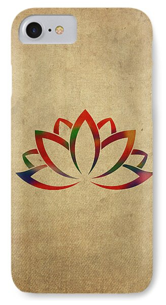 Lotus Flower Buddhist Symbol In Watercolor IPhone Case