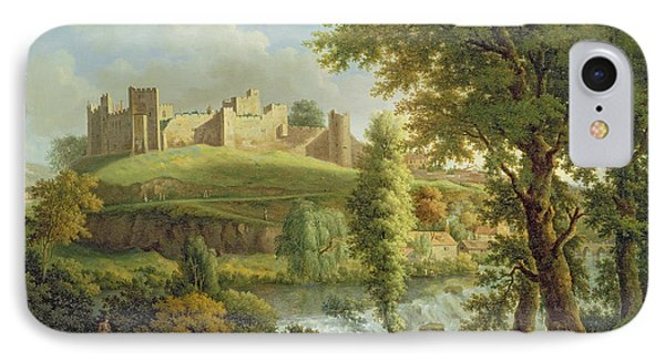 Castle iPhone 8 Case - Ludlow Castle With Dinham Weir by Samuel Scott