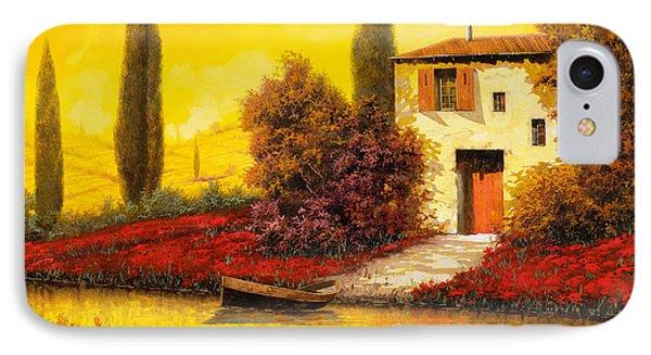 Rural Scenes iPhone 8 Case - Lungo Il Fiume Tra I Papaveri by Guido Borelli
