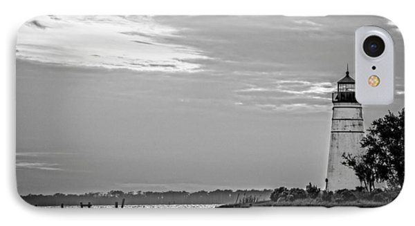 Madisonville Lighthouse In Black-and-white 2 IPhone Case