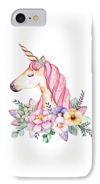 Magical Watercolor Unicorn IPhone Case