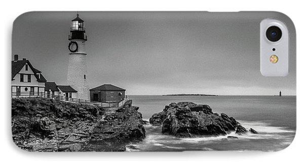 Maine Cape Elizabeth Lighthouse Aka Portland Headlight In Bw IPhone Case