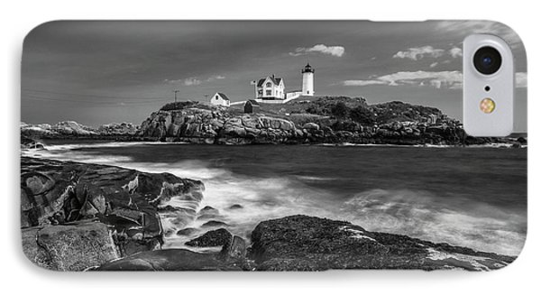 Maine Cape Neddick Lighthouse In Bw IPhone Case