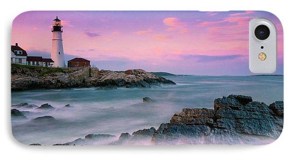 Maine Portland Headlight Lighthouse At Sunset Panorama IPhone Case