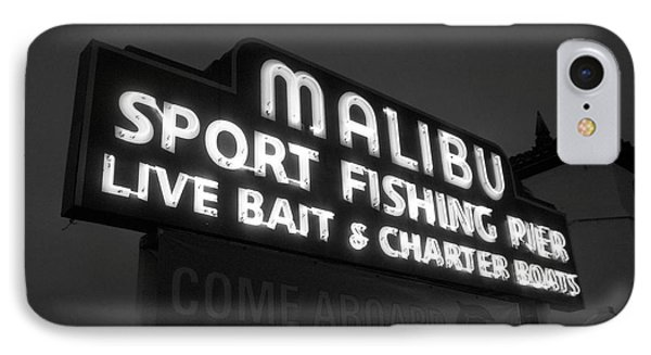 Malibu Pier Sign In Bw IPhone Case