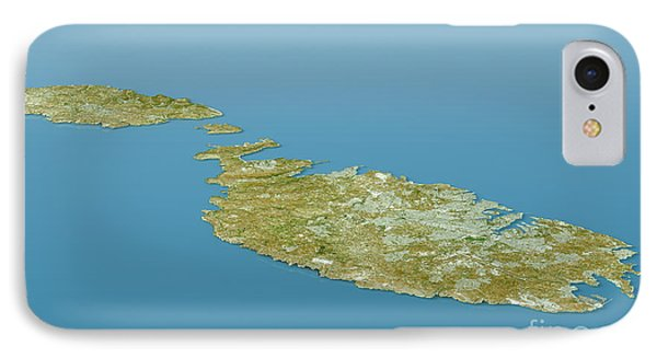 Malta Topographic Map 3d Landscape View Natural Color IPhone Case