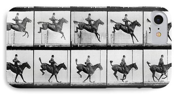 Horse iPhone 8 Case - Man And Horse Jumping by Eadweard Muybridge