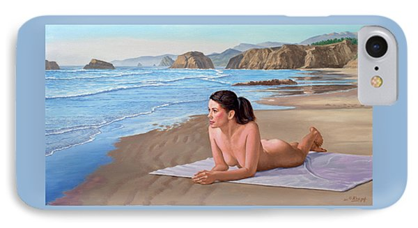 Nudes iPhone 8 Case - Mandy At The Beach by Paul Krapf