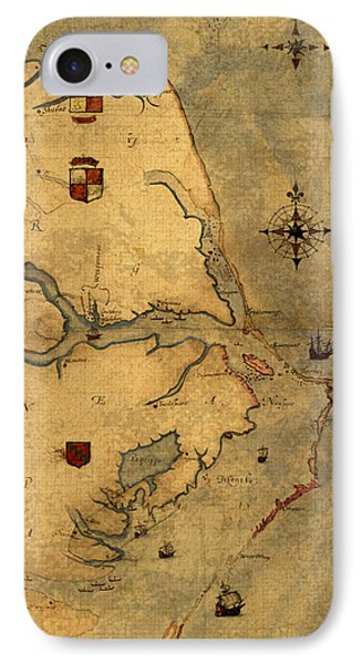 Map Of Outer Banks Vintage Coastal Handrawn Schematic On Parchment Circa 1585 IPhone Case