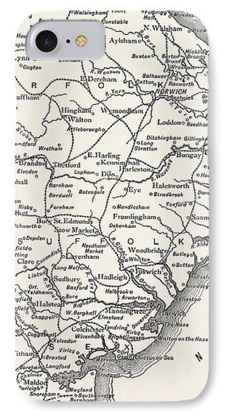 Map Of The East Anglian Rivers IPhone Case