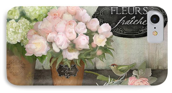 IPhone Case featuring the painting Marche Aux Fleurs 2 - Peonies N Hydrangeas W Bird by Audrey Jeanne Roberts
