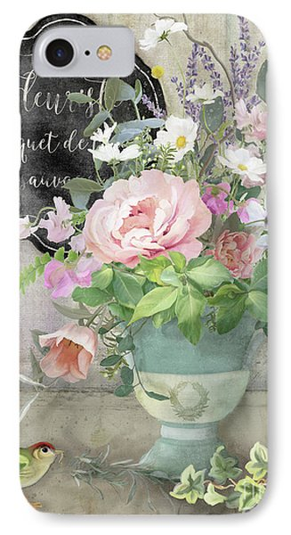 IPhone Case featuring the painting Marche Aux Fleurs 3 Peony Tulips Sweet Peas Lavender And Bird by Audrey Jeanne Roberts