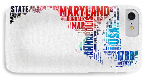 Maryland Watercolor Word Cloud  IPhone Case