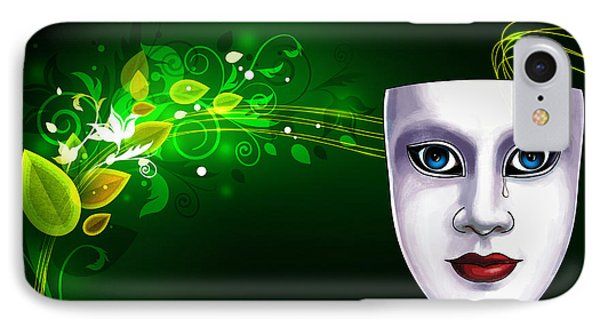 Mask Blue Eyes On Green Vines IPhone Case