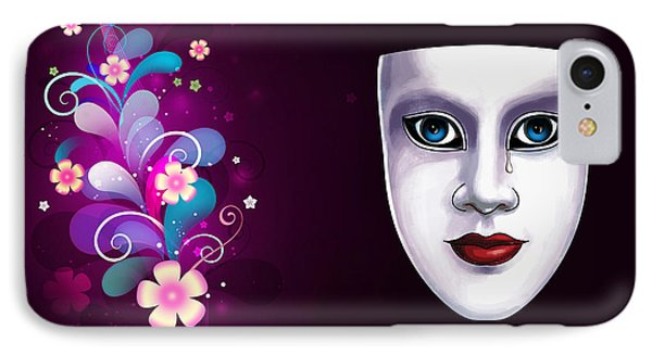 Mask With Blue Eyes Floral Design IPhone Case