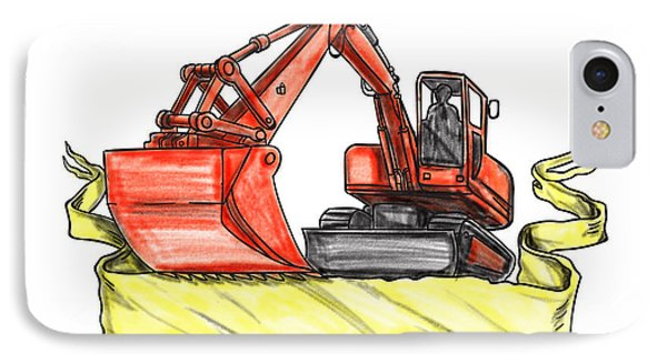Mechanical Digger Excavator Ribbon Tattoo IPhone Case