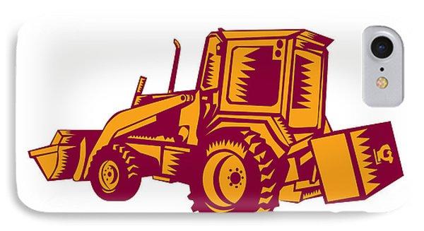 Mechanical Digger Excavator Woodcut IPhone Case