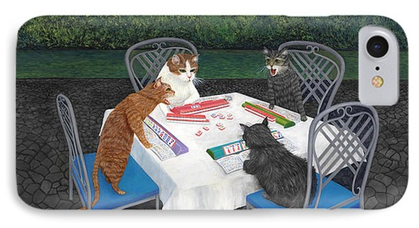Dragon iPhone 8 Case - Meowjongg - Cats Playing Mahjongg by Karen Zuk Rosenblatt