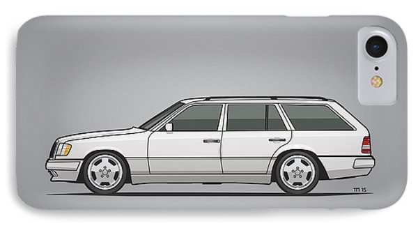 Mercedes Benz W124 T124 300te E-class White Estate Wagon IPhone Case