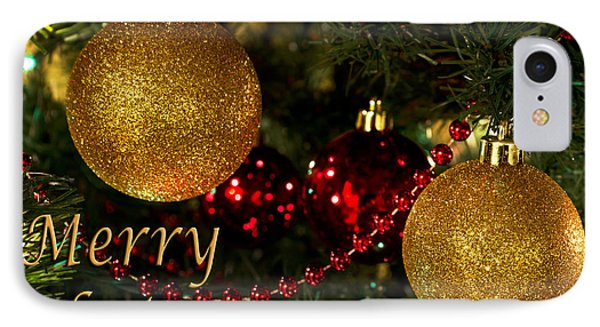 Merry Christmas With Gold Ball Ornaments IPhone Case