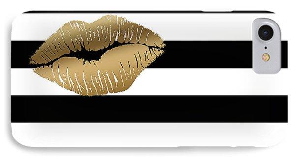 Metallic Gold Lips Black And White Stripes IPhone Case
