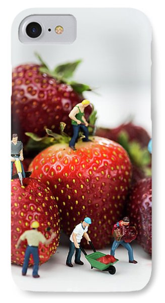 Miniature Construction Workers On Strawberries IPhone Case
