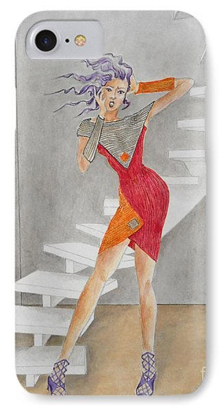 Minimalist Madness -- Whimsical Fashion Drawing IPhone Case