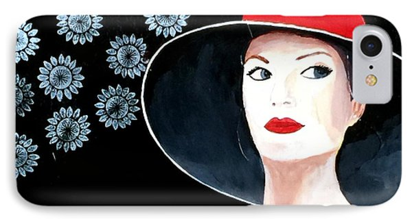 Mixed Media Painting Woman Red Hat IPhone Case