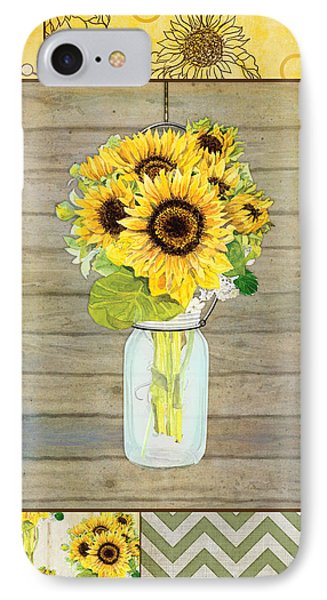 Sunflower iPhone 8 Case - Modern Rustic Country Sunflowers In Mason Jar by Audrey Jeanne Roberts