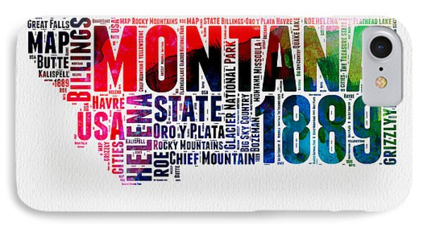 Montana Watercolor Word Cloud  IPhone Case