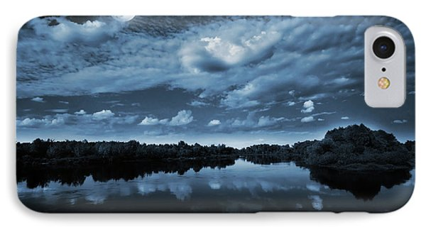 Sky iPhone 8 Case - Moonlight Over A Lake by Jaroslaw Grudzinski