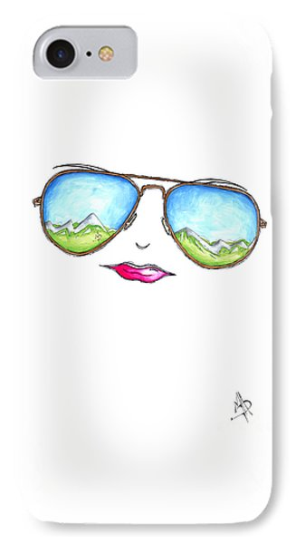 Mountain View Aviator Sunglasses Pop Art Painting Pink Lips Aroon Melane 2015 Collection IPhone Case