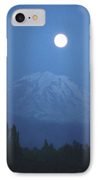 Mt Rainier Full Moon IPhone Case