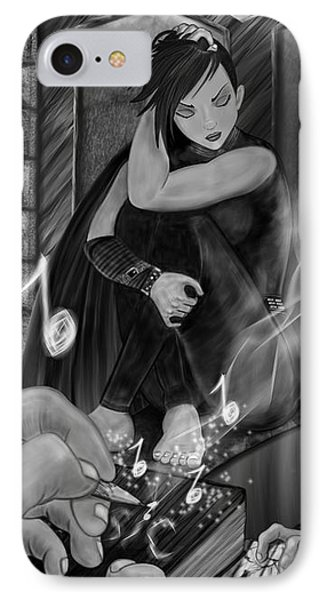Music Is Magic - Black And White Fantasy Art IPhone Case
