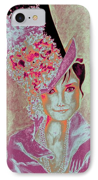My Fair Audrey -- In Raspberry And Orange IPhone Case