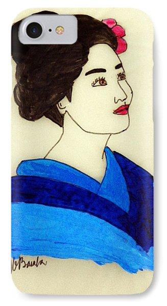 Lady In Blue Kimono IPhone Case