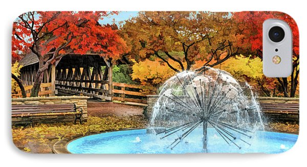 IPhone Case featuring the painting Naperville Dandelion Fountain by Christopher Arndt