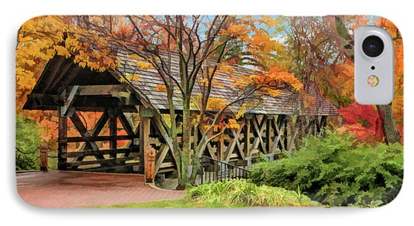 IPhone Case featuring the painting Naperville Riverwalk Covered Bridge by Christopher Arndt