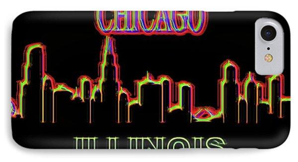 Neon Chicago Skyline Sign IPhone Case