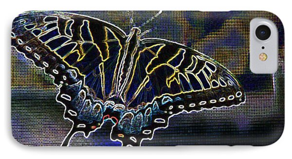 Neon Swallowtail Butterfly IPhone Case