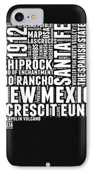 New Mexico Black And White Word Cloud Map IPhone Case