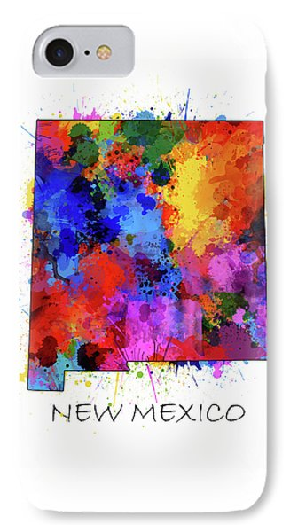 New Mexico Map Color Splatter  IPhone Case
