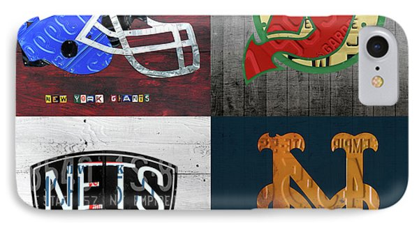 New York Sports Team License Plate Art Collage Giants Devils Nets Mets V6 IPhone Case