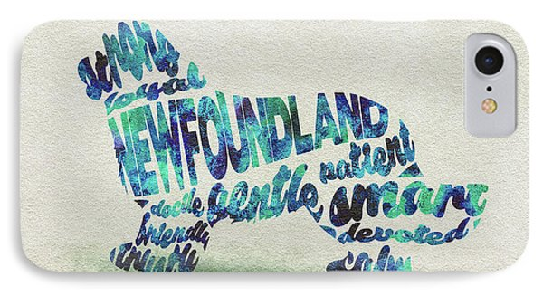 Newfoundland Dog Watercolor Painting / Typographic Art IPhone Case