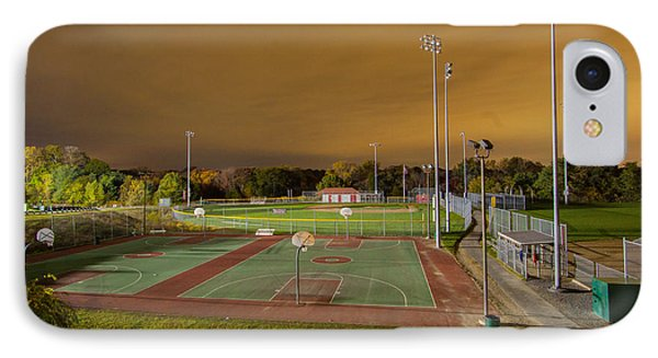 Night At The High School Basketball Court IPhone Case