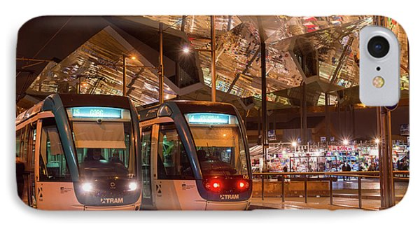 Night View Of Two Trams At Glories Station  IPhone Case