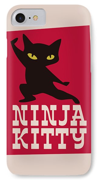 Ninja Kitty Retro Poster IPhone Case